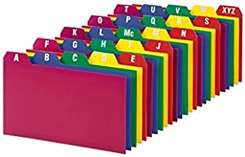 Oxford Poly Card Guides, A-Z, 3 x 5 -Inch, Assorted Colors 2-Pack