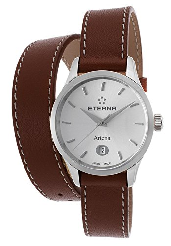Eterna 2530-41-10-1351 Women's Artena Brown Genuine Leather Silver-Tone Dial Stainless Steel Watch