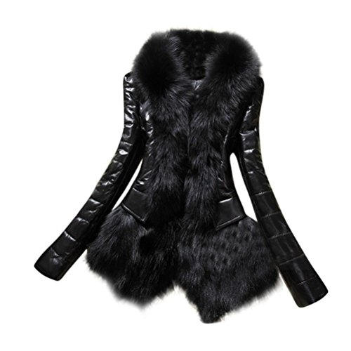 Caliente de Negro diseño otoño del del Capa Invierno RETUROM Abrigo la Collar Cuero Mujeres del Espesor Chaqueta Mujer Ropa de qH1FR7O
