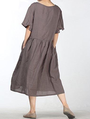 ... Mallimoda Damen Rundhals Kurzarm Langes Leinen Kleid Sommerkleid Grau  q5yN74Pm 4400b2746b