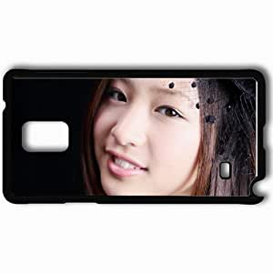Personalized Samsung Note 4 Cell phone Case/Cover Skin Asian Face Smile Close Up Brown Eyed Black