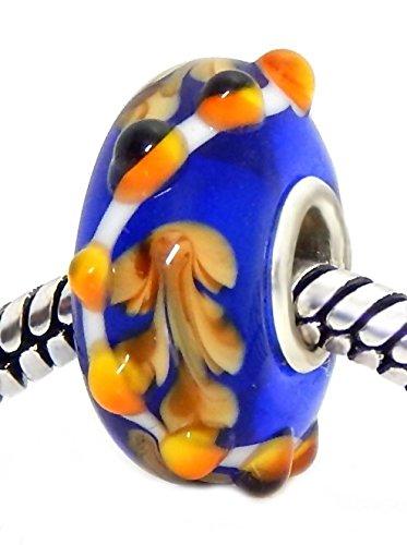 J&M Handmade Ocean Coral Murano Glass Charm Bead for Bracelets