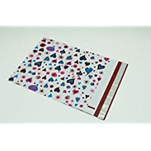 25- Colorful Blue Hearts10x13- Designer Poly Mailers - Tamper Proof Self Sealing Adhesive Flap - Moisture / Tear Resistant - Lightweight Shipping Envelopes / Bags