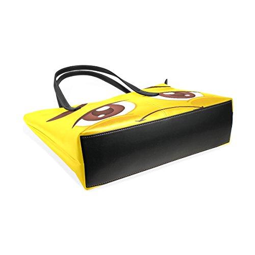 COOSUN Emoji Emoticon PU Leder Schultertasche Handtasche und Handtaschen Tasche für Frauen