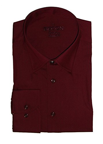 Herrenhemd, extralanger Arm, bordeaux, Eton-Kragen, Slim Fit