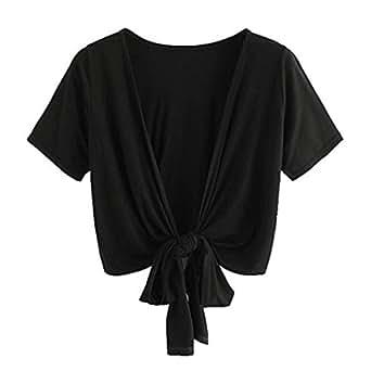 Mujeres Tops Rovinci Verano Camisa de Manga Corta con Cuello en V Blusa con Mujer Sexy Blusa Camisetas Mujer Manga Corta Tops Sexy Elegante 2018 (S, Blanco)