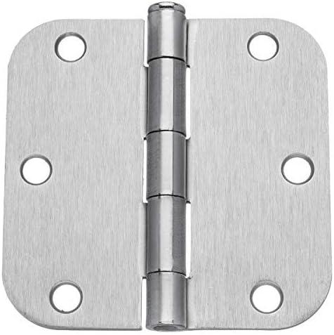 """Pack of 12 Hager 3 1//2 Inch Satin Nickel Door Hinges with 5//8/"""" Radius Corners"""