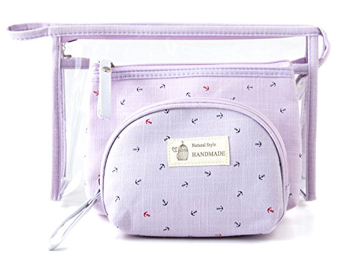 dd3ef197aa22 Zhoma 3 Piece Cosmetic Bag Set - Makeup Bags And Travel Case - Purple - Buy  Online in Oman.