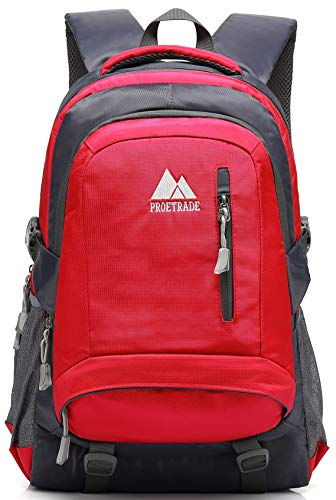 School Backpack BookBag For College Travel Hiking Fit Laptop Up to 15.6 Inch Water Resistant (Red) by ProEtrade