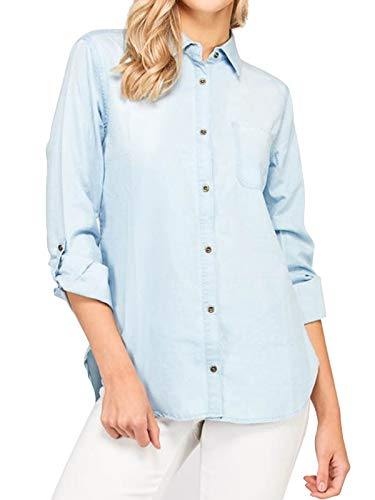 Instar Mode Women's Basic & Classic Button Down Roll up Sleeve Chambray Denim Shirt Light Blue M