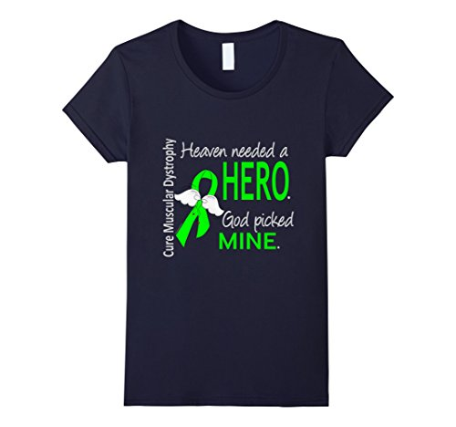 Womens Muscular Dystrophy T Shirt Heaven Needed A Hero Large Navy