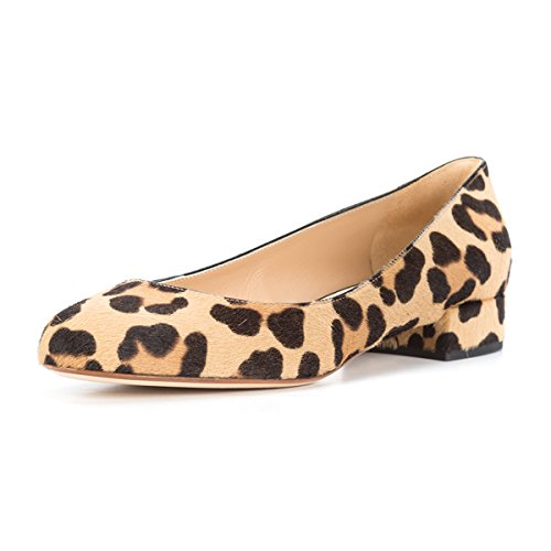 FSJ Women Leopard Pumps Slip On Casual Block Low Heels Closed Round Toe Shoes For Comfort Size 15 - And 15 Brown Round