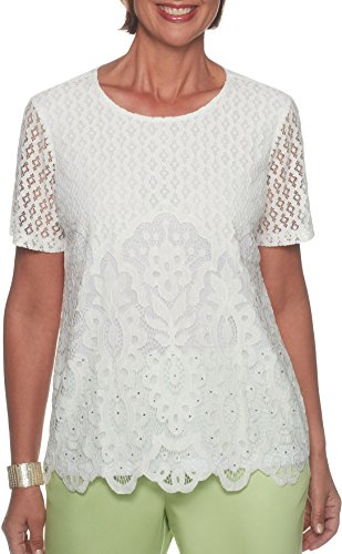 Alfred Dunner Petite Lace Overlay Semi-Sheer Top Small Petite White (Alfred Dunner Petite Blouse)
