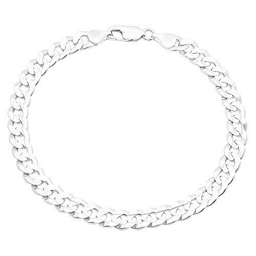NYC Sterling Men's 7MM Solid Sterling Silver .925 Curb Link Chain Necklace, Made in Italy. (9 Inch)