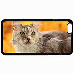 Customized Cellphone Case Back Cover For iPhone 6, Protective Hardshell Case Personalized Cat Snout Yellow Background Blurring Black