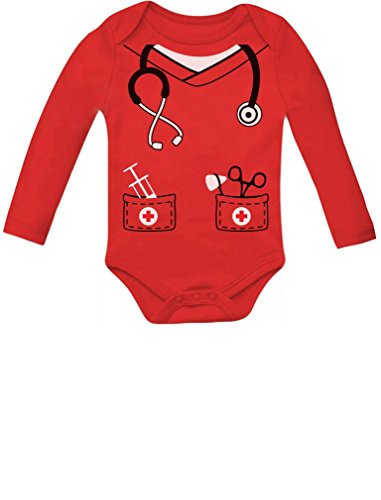 Infant Doctor, Nurse Physician Costume Halloween Cute Baby Long Sleeve Bodysuit 6M Red