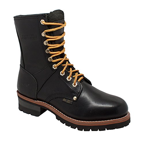 """Oiled Boots Leather - ADTEC Men's 9"""" Super Logger with Soft-Toe, Goodyear Welt Construction, Leather, Utility Boot 200g, Black, 8.5 M US"""
