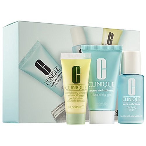 Clinique 3-Step Kit Travel Size - Acne Solutios Cleansing Gel, Lotion, Dramatically Moisturizing Gel