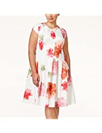 Calvin Klein Womens Floral Print Cap Sleeves Scuba Dress