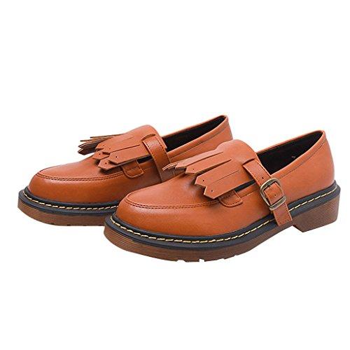 Estimadas Mujeres Time Slip On Tassels Flats Shoe Yellow