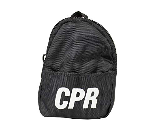 (CPR Savers & First Aid Supply CPR Backpack Face Shield Mask Keychain Kit with Gloves and Cleaning Wipe for CPR Training and Rescue (Black))