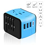 DCBRAA - Travel Adapter,International Power Adapter,3 USB + Type-C Smart High Speed USB Travel Adapter Wall Charger Applicable to Global AC Jack for US, UK, EU, Australia-Blue