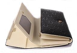 Eonice Luxury Woven Pattern Double Layer Women Wallet Cow Leather Wallet Women Purse Black