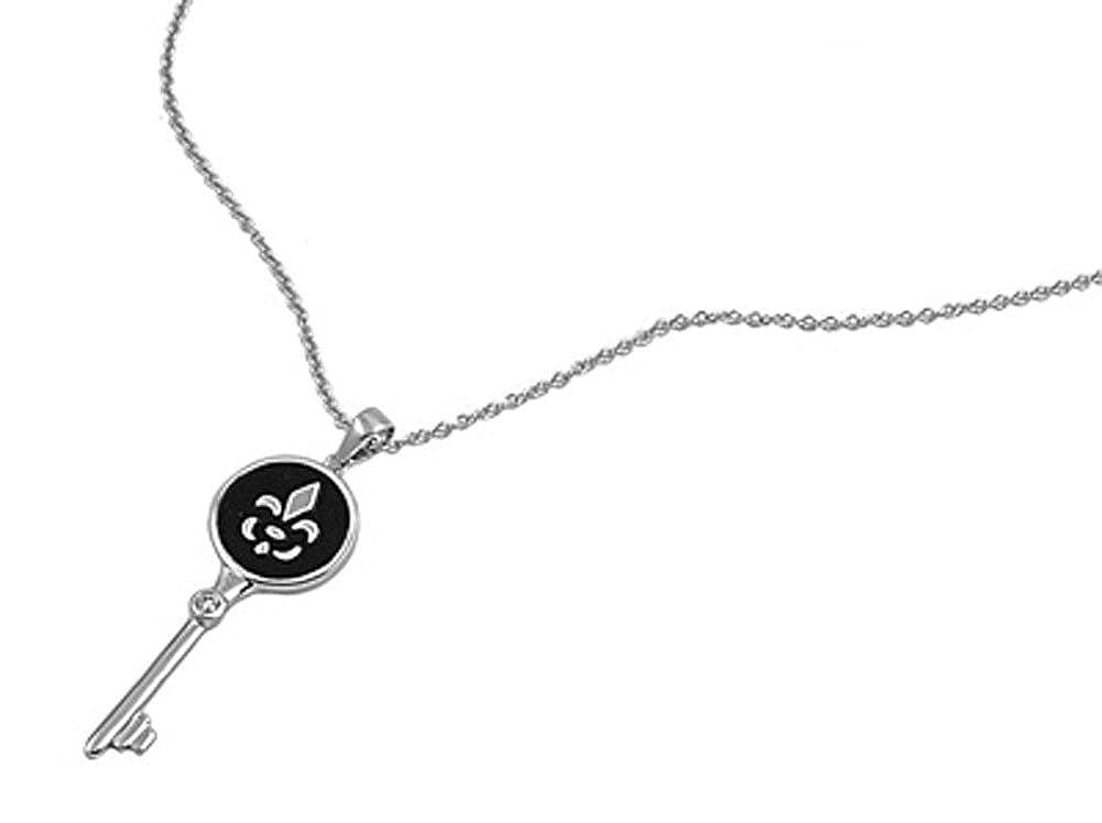 Key Pendant Fleur De Lis Necklace Clear Simulated CZ .925 Sterling Silver