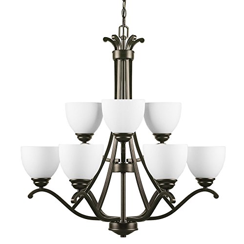 Cheap CO-Z 9 Lights Antique Bronze Chandelier Lighting, 2 Tier Traditional Ceiling Light Fixture with Satin Etched Cased Opal Glass Shade for Foyer, Dining Room, Living Room, Family Room