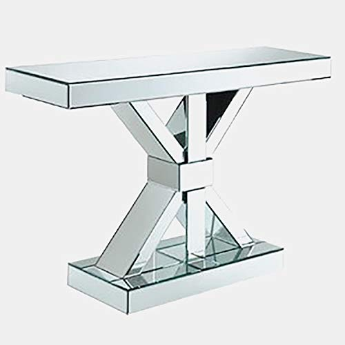 - Glass Rectangular Console Table - Console Table with Frameless Mirror Panels - Mirrored