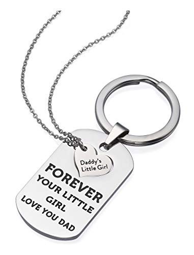 Tstars Gift for Dad Father Daughter Keychain Jewelry Daddy's Girl Birthday Necklace Set Father's Day Jewelry with Gift Box Silver