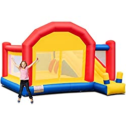 Costzon Kid Bounce House, Inflatable Slide Bouncer Outside Castle Bounce Jumper Without Blower