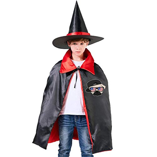 Halloween Children Costume Pug Thug Life Wizard Witch Cloak Cape Robe And Hat Set -