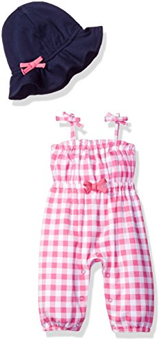 Isaac Mizrahi Baby Girls' 2 Piece Sleeveless Coverall Set with Sunhat, Pink Oversize Gingham, 0-3 Months (Coverall Girl Baby)