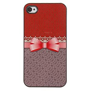 SJT Elegant Bowknot Pattern PC Hard Case with 3 Packed HD Screen Protectors for iPhone 4/4S