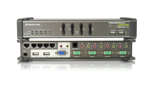 IOGEAR 4-Port MiniView Symphony Multi-function KVM Switch with Cables, GCS1774