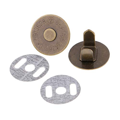 10 Sets 14mm/18mm Magnetic Snap Fasteners Clasps Button for Handbag Purse Wallet | Color - Bronze 18mm ()