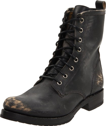 FRYE Women's Veronica Combat Boot, Black Stone Washed, 8.5 M US