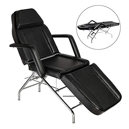 Mefeir Adjustable Massage Table Facial Esthetician Bed, Portable Beauty Parlor Tattoo Wax Chair with Removable Arm, Medical SPA Treatment Household,PVC Leather Heavy Duty Steel Frame 72''x24''x29.5''