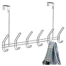 InterDesign Classico Over the Door 12-Hook Rack for Coats, Hats, Robes, Towels - Chrome