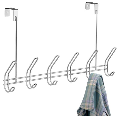 InterDesign Classico Over Door Organizer Hooks – 6 Hook Storage Rack for Coats, Hats, Robes or Towels, Chrome