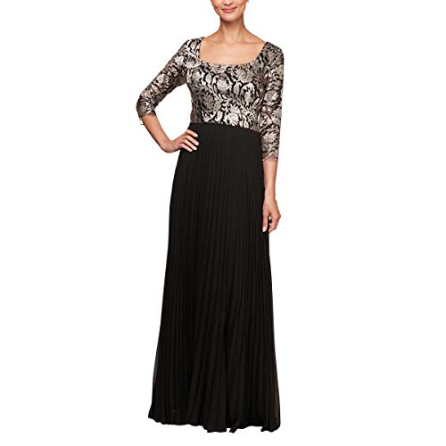 Alex Evenings Women's Long A-Line Sweetheart Neck Dress (Petite and Regular Sizes), Black/Taupe, 10