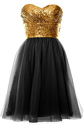 Short Wedding MACloth Black Gold Strapless Dress Women Formal Gown Party Cocktail Sequin 4nqTwYXqxA