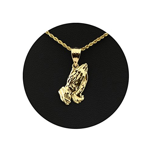 Religious Praying Hands Charm (LoveBling 10K Yellow Gold Praying Hands Charm Pendant (0.88