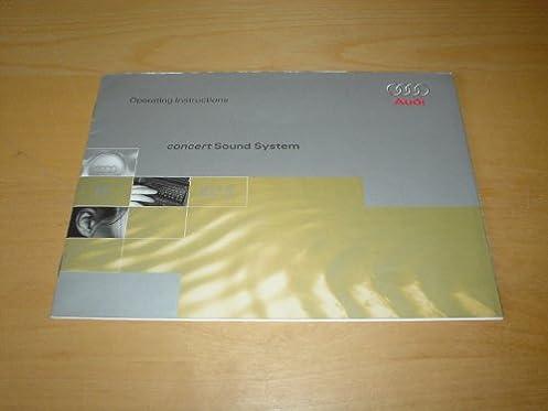 audi concert sound system instruction handbook radio cd a1 a2 a3 rh amazon co uk Audi Manual Transmission Audi Manual Transmission