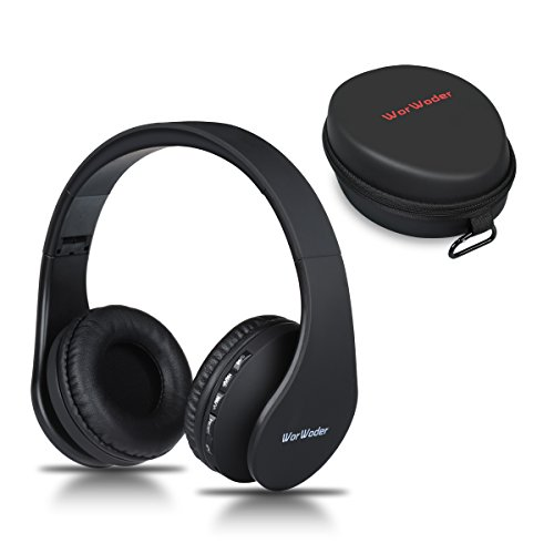 Bluetooth Headphones Over Ear, Wireless Headset Hi-Fi Stereo, Foldable, Soft Memory-Protein Earmuffs, Built-in Mic and Wired Mode for PC Cell Phones TV and Travelling(Black) by WorWoder