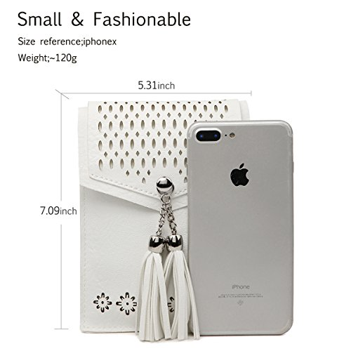 Women Small Crossbody Bag, seOSTO Tassel Cell Phone Purse Wallet Bags (White) … by seOSTO (Image #4)