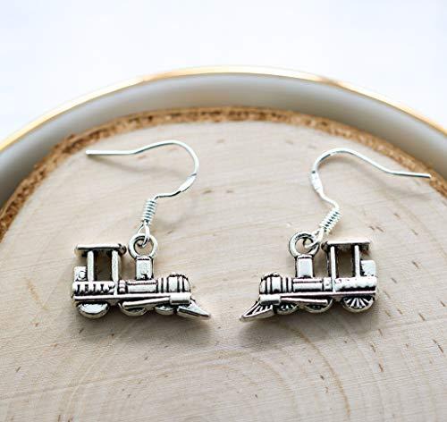 Train Earrings for Women - 925 Sterling Silver Hooks - Train Themed Gifts - Train Jewelry for Girls - Fast Shipping
