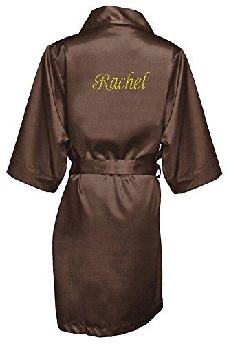 (Women's Chocolate Satin Custom Name in Glitter Robe S/M 4-12)