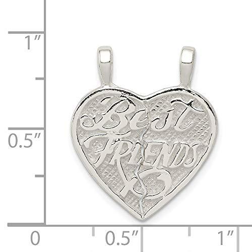 Sterling Silver Best Friends 2-Piece Break Apart Heart Charm (0.9IN long x 0.4IN wide)
